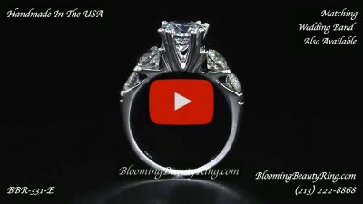 Tension Set Large Diamond Curved 8 Prong Engagement Ring – bbr331e standing up video