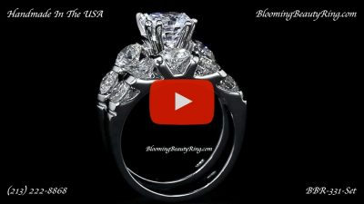 Tension Set Large Diamond Curved 8 Prong Engagement Ring and Matching Wedding Band – bbr331 standing up video