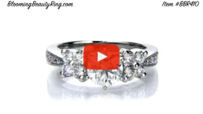 Petite Graduated 4 Diamond Cluster Tapered 6 Prong Engagement Ring Setting – bbr410 laying down video