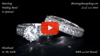 2.90 ctw. 14K Gold Diamond Engagement Ring Set – nrd411eb-1 laying down video