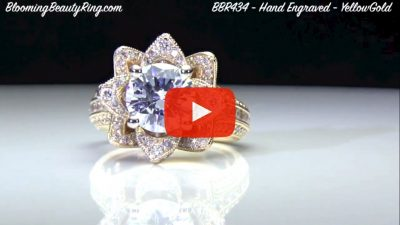 1.78ctw Yellow Gold Large Hand Engraved Blooming Beauty Flower Diamond Engagement Ring – bbr434ygen laying down video