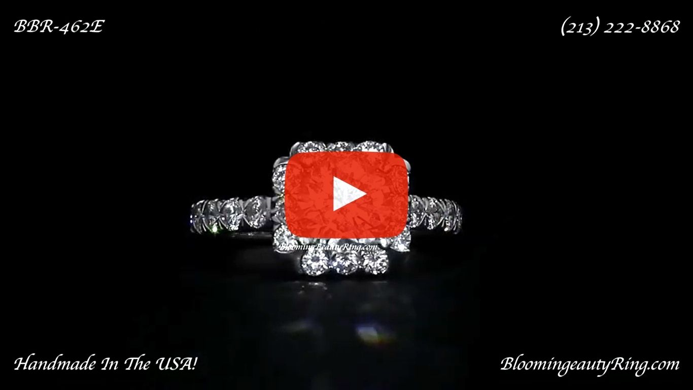Fully Bloomed Flower Halo Tension Bezel Ring with Very Large Diamonds – bbr462e laying down video