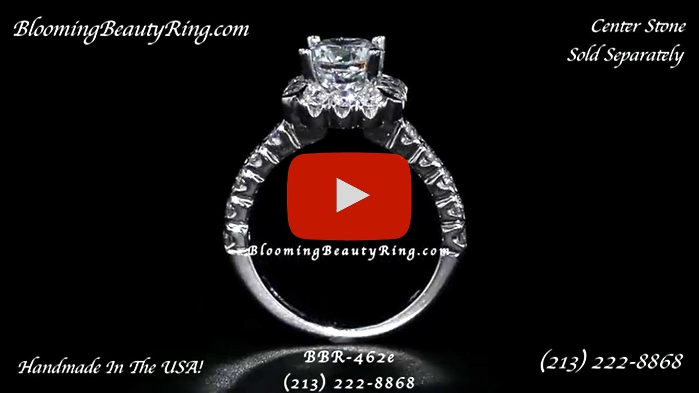 Fully Bloomed Flower Halo Tension Bezel Ring with Very Large Diamonds – bbr462e standing up video
