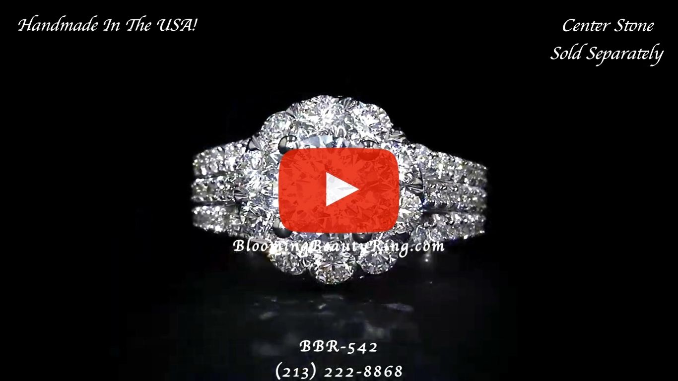 The Rising Diamond – Split Halo – Engagement Ring – bbr542 laying down video