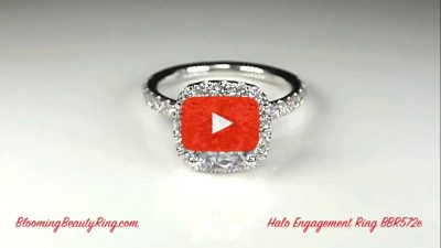 Petite Square Halo Round Shared Prong Set Diamond Engagement Ring – bbr572e laying down video