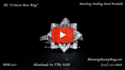 The Large Crimson Rose Flower Diamond Engagement Ring – bbr607 laying down video