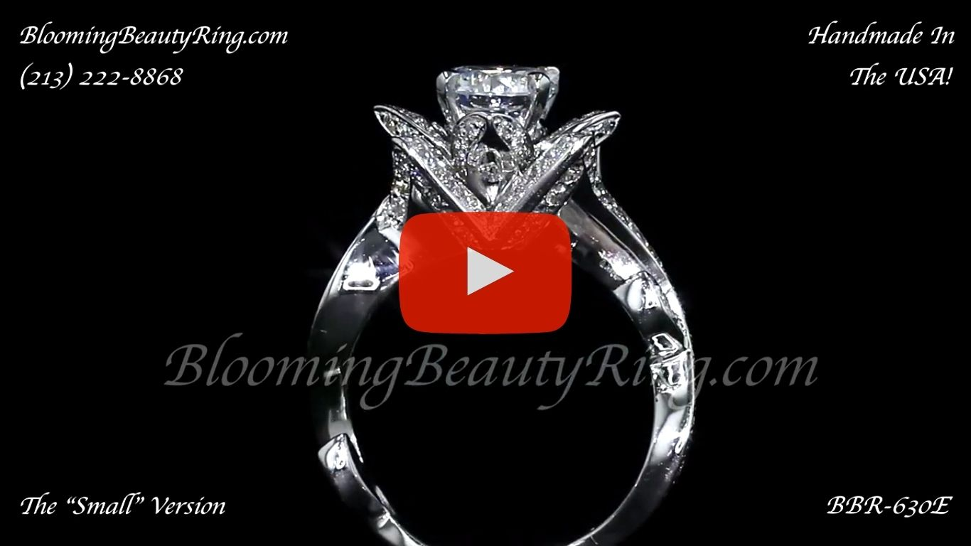 The Lotus Swan 1ct. Diamond Engagement Flower Ring – bbr630 standing up video