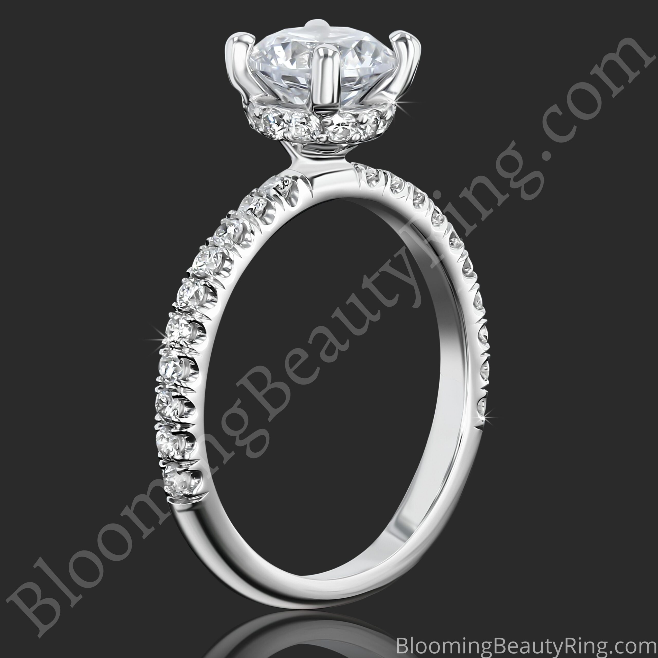 0.50 ctw Diamond Engagement Ring BBR-738E standing up