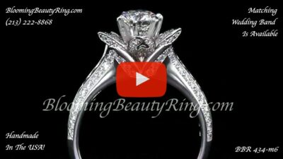 1.38 ctw 6 Prong Versus 4 Prong Original Small Blooming Beauty Flower Ring – bbr434m-6 close up standing up video