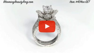 1.67 ctw. Small Hand Engraved Blooming Beauty Wedding Ring Set – bbr434en-s-set standing up video