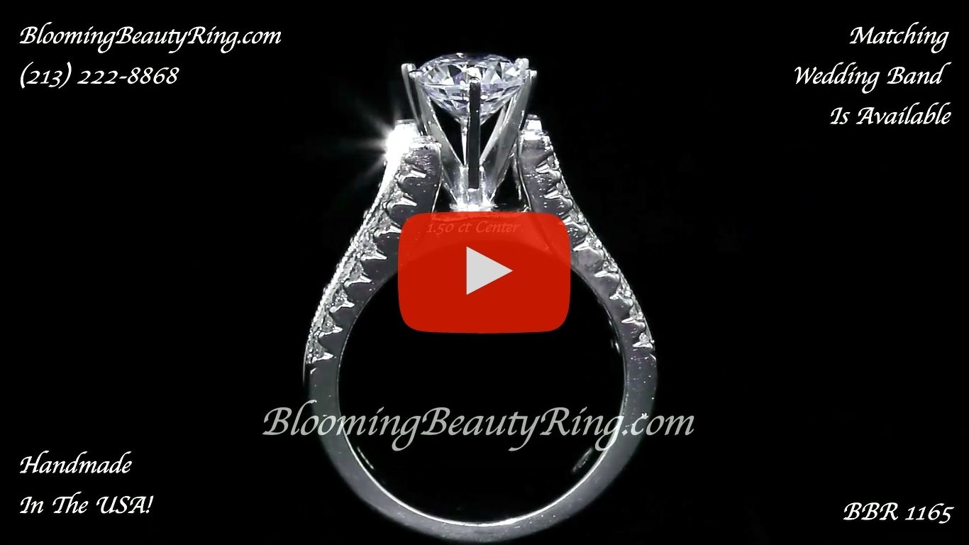 Diamonds On The Tips Modified 6 Prong Cathedral Split Band Princess Cut Ring – bbr1165 close up standing up video