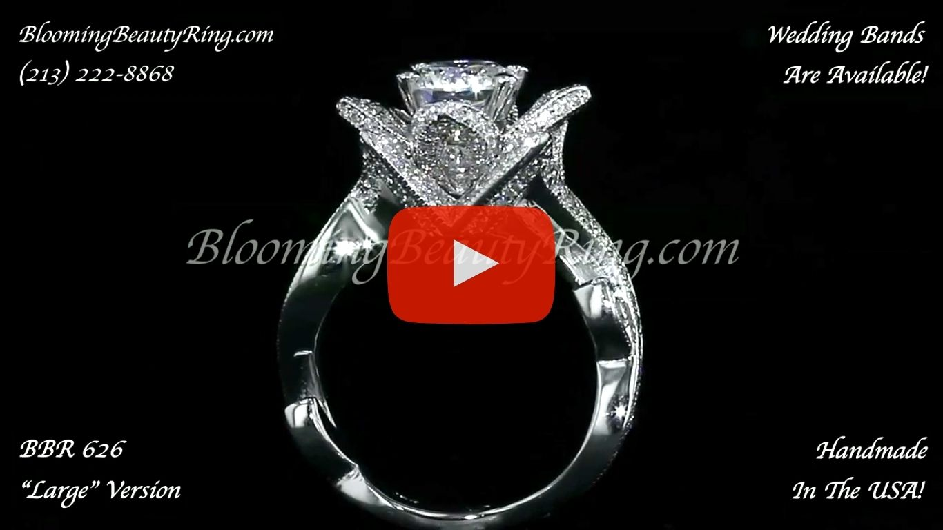 The Large Lotus Swan 1.48 ct. Diamond Engagement Flower Ring – bbr626 standing up video
