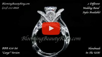 The Large Ring and Small Band Lotus Leafy 1.80 ctw. Diamond Engagement Flower Ring Set – bbr626set standing up video