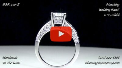 Vintage Inspired Half Circle Tapered Diamond Engagement Ring – bbr430 standing up video