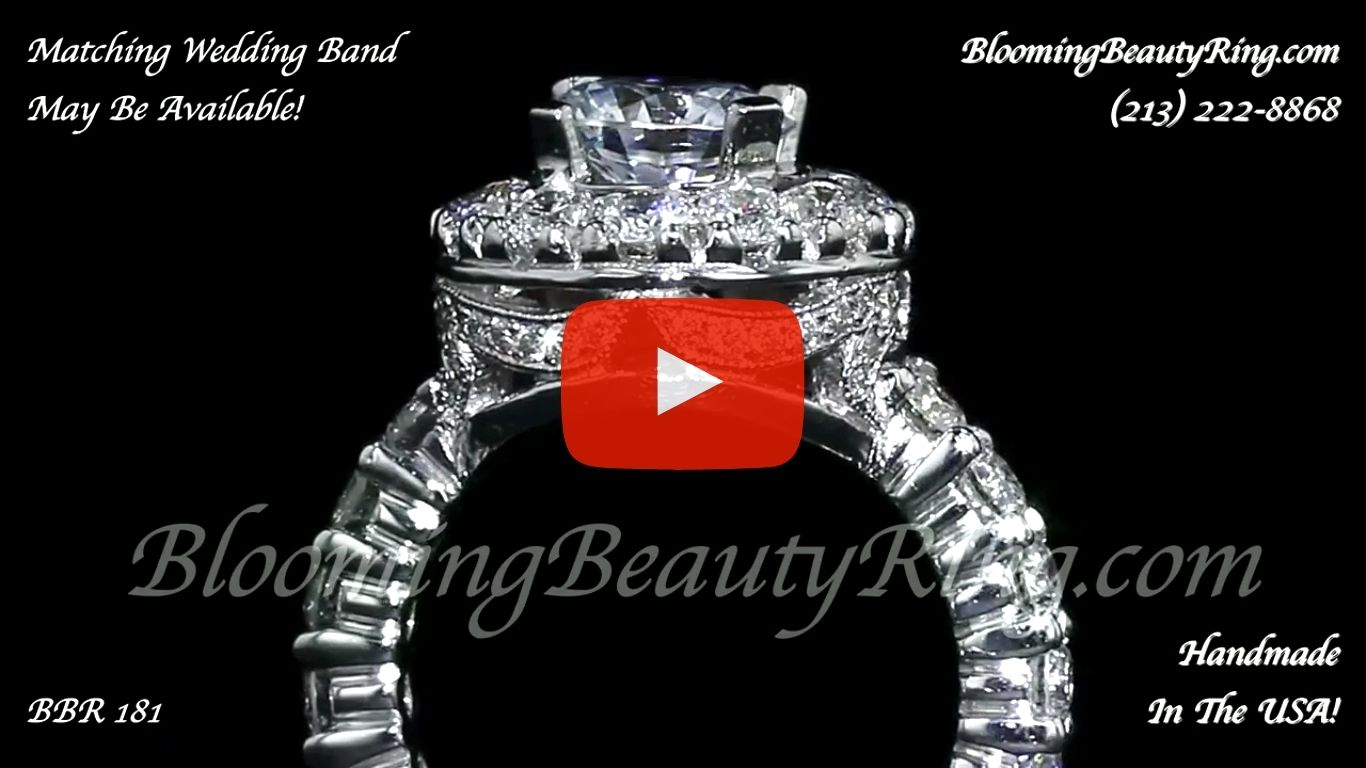 Diamonds and Flowing Lace Engagement Ring - bbr181 close up standing up video