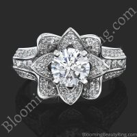 1.38 ctw. Original Small Blooming Beauty Flower Ring polished
