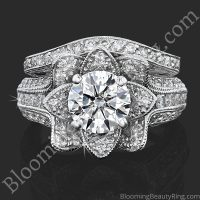1.67 ctw. Small Hand Engraved Blooming Beauty Wedding Ring Set – bbr434en-s-set