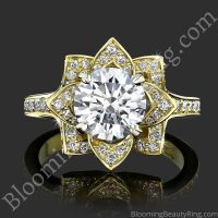 The Large Crimson Rose Flower Diamond Engagement Ring top view