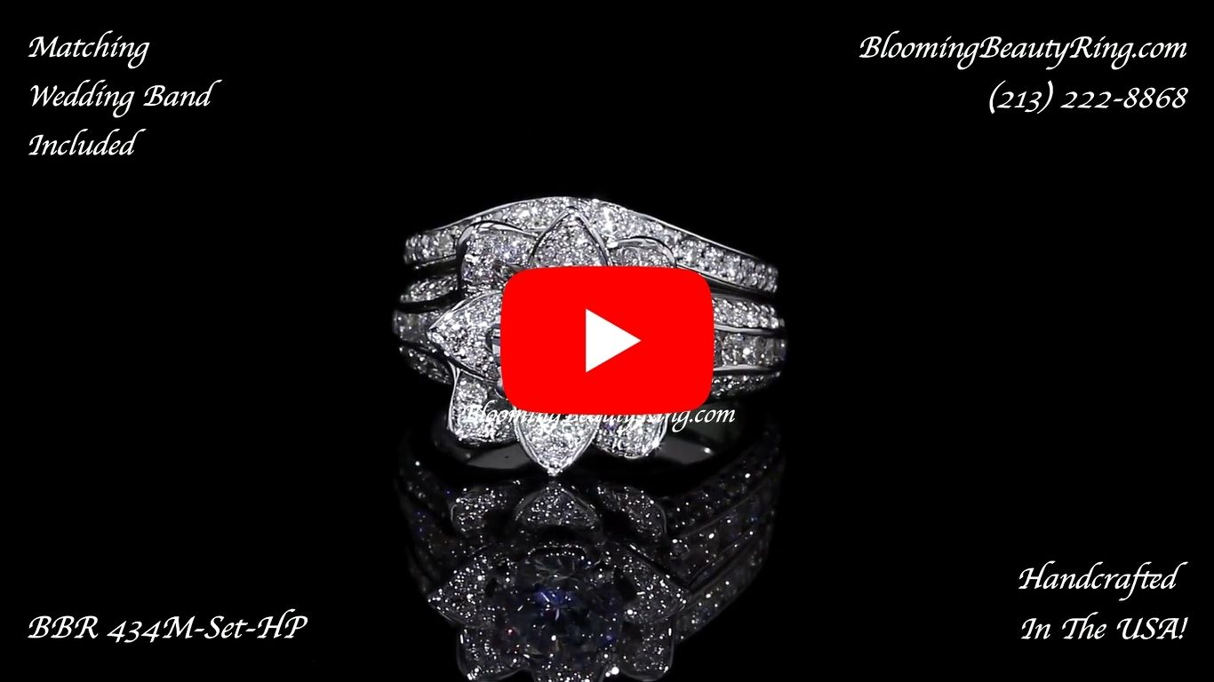 1.67 ctw. Original Small Blooming Beauty Flower Ring Set laying down video
