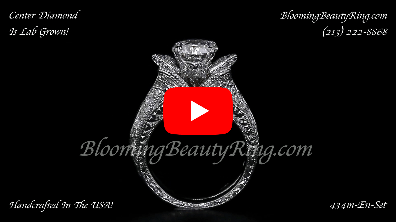 1.67 ctw. Small Hand Engraved Blooming Beauty Wedding Ring Set – bbr434en-s-set standing up video-2