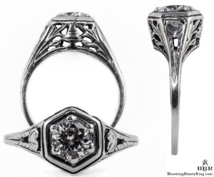 012bbr | Antique Filigree Ring | for a .42ct. to .52ct. round stone | Organic Natural Look