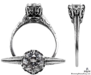 026bbr | Antique Filigree Ring | for a .75ct. to .85ct. round stone | Crown Setting