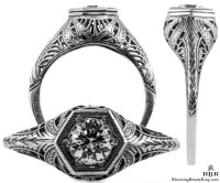 039bbr | Antique Filigree Ring | for a .42ct to .52ct round stone | Swirl