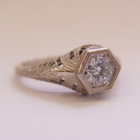 039fbbr | Pre-Set Antique Filigree Ring | .48ct. Round Diamond | Swirls<br>$2011