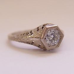 039fbbr | Pre-Set Antique Filigree Ring | .48ct. round diamond | Swirls
