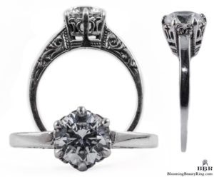 041bbr | Antique Filigree Ring | for a 1.20ct. to 1.30ct. round stone | Vintage Solitaire