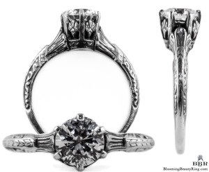 044bbr | Antique Filigree Ring | for a .75ct. to .85ct. round stone | Regal Setting