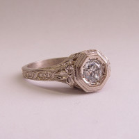 059fbbr | Pre-Set Antique Filigree Ring | .46ct. Round Diamond | Climbing Vines<br>$2737