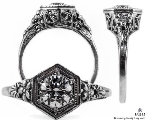 079bbr | Antique Filigree Ring | for a .58ct. to .68ct. round stone | Astonishing Flowers