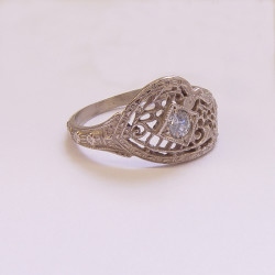 080f1bbr | Pre-Set Antique Filigree Ring | .10ct. round diamond | Unusual Clover