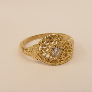 080fbbr | Pre-Set Antique Filigree Ring | .23ct. Round Diamond | Intricate Paisley