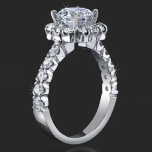 Very Large Diamonds Fully Bloomed Flower Halo Tension Bezel Band  – Consider a Blue Diamond with This – bbr462e