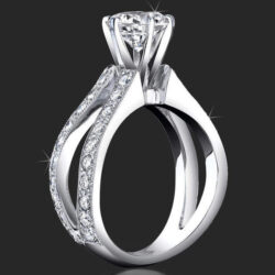 1.05 ctw. Split Shank Millegrain and Pave Diamond Engagement Ring - bbr453