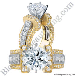 1.50 ct. Two Toned Princess and Round Duchess Engagement Ring - bbr332