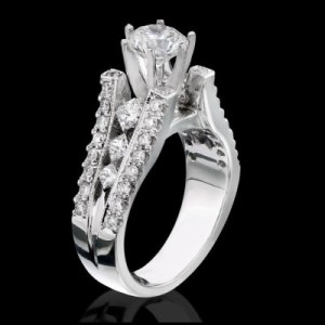 Diamonds On The Tips Modified 6 Prong Cathedral Split Band Princess Cut Ring – bbr1165