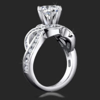 Popular One of a Kind Crossover Style Band with Swirling Graduated Round Accent Diamonds