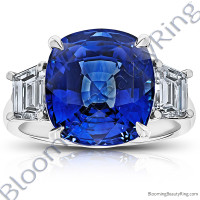 12.60 Carat Cushion Vivid Blue Sapphire 3 Stone Trap Ring