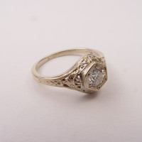 128-5fbbr | Pre-Set Antique Filigree Ring | .37ct. Round Diamond | Scrolls<br>$1615