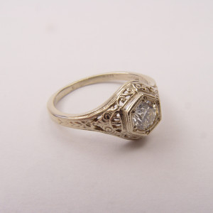 128-5fbbr | Pre-Set Antique Filigree Ring | .37ct. Round Diamond | Scrolls