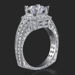 1.32 ctw. Ring of Art Diamond and Engraved Engagement Ring