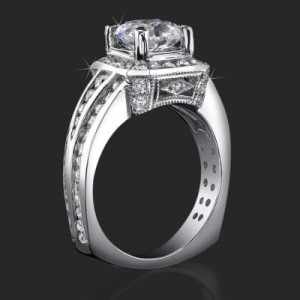 Trio Channel Set Round Diamonds with Artistic European Style Thick Band Halo Head – bbr352
