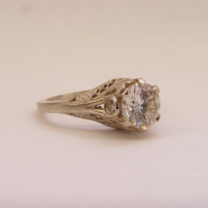 140fbbr | Pre-Set Antique Filigree Ring | 1.50ct. Multiple Round Diamonds | Marquise Drops