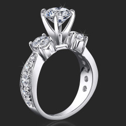 3 Stone Tapered Past Present Future Anniversary / Engagement Ring