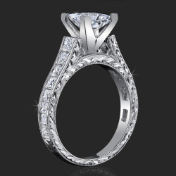 1.50 ctw. Extravagantly Detailed Princess and Millegrain Engagement Ring - bbr334