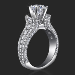 1.65 ctw. 10 Column Round Diamond Tiffany Style Engagement Ring - bbr455