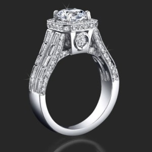 Baguette and Round Halo Style Diamond Engagement Ring with Large Peekaboo Side Diamonds – bbr388-1